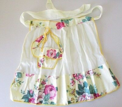 Vintage Sheer Yellow Cottage Pink Cabby Roses Half Apron w/ Pocket EUC