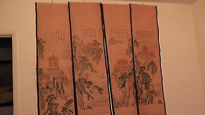 lot of 4 chinese scrolls collection china prints temple architecture landscape