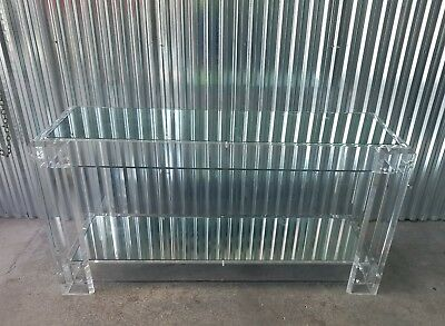 70'S Modernist Imposing Custom Thick Lucite Console