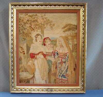 Antique Vintage Petit Point Needlepoint Early Victorian Tapestry Framed 30 x 25