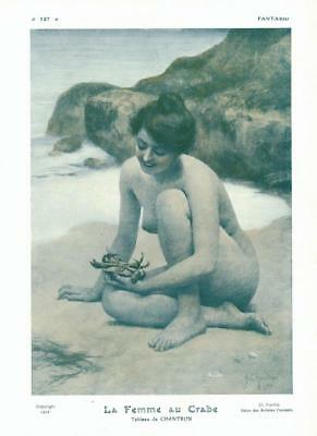 1910 ORIGINAL FRENCH VINTAGE PRINT Naked Lady / Beach / Crab by CHANTRON ( F455)