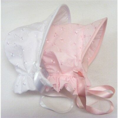 Baby Girls Romany / Traditional Broderie Anglaise Poke Bonnet Sun Hat PINK WHITE