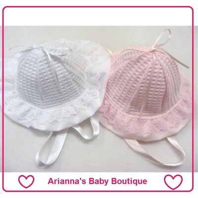NEW Baby Girl Romany / Traditional Waffle Beanie Sun Hat PINK WHITE NB - 12 MNTH