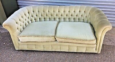 Old vintage mid century Fabric Chesterfield Tub style 2 seater sofa on castors