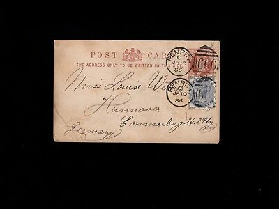 Great Britain 1886 Penrith Uprated Queen Victoria Franking to Germany 1k