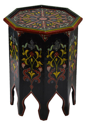 Moroccan Wood Side End Table Corner Coffee Handmade Hand Painted Black/Red