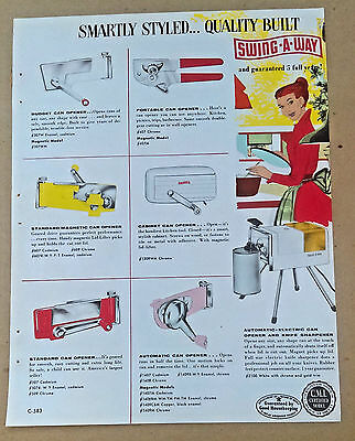 Original Vintage Swing-A-Way Can Openers and Ice Crushers Ad Sheet