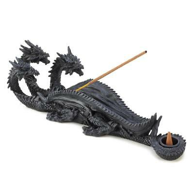 "Triple Head Dragon Incense Burner Stick Cone Holder Figurine 11"" NEW 13830"