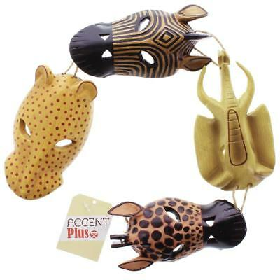 African Safari Animal Mask Wall Hanging Plaque Giraffe Elephant Zebra Cat 34759