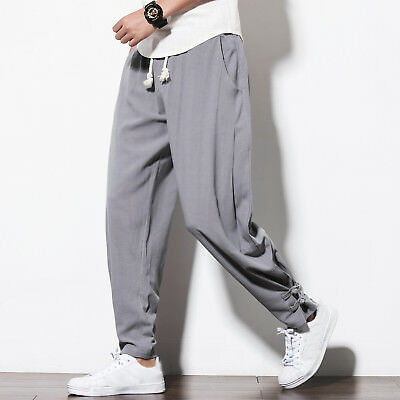 Chinese Linen Cottonharem pants Mens Casual wide leg trousers Tang Dynasty pants