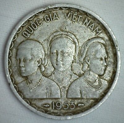 1953 South Vietnam 50 Xu Three Ladies Double Dragon Circulated Coin