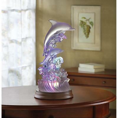 Dolphin on Waves of Light Figurine Color Changing Sculpture Ocean Decor 32270