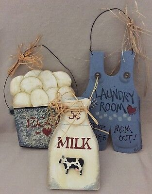 Lot Of 3 Handpainted Wooden Country Farm Wall Hangings