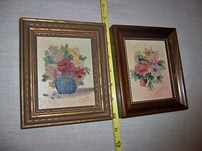 Vintage Pair Small Oil On Canvas Paintings Flowers By Eric Linnell NY