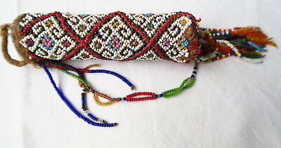 BEADED BAMBOO LIME CONTAINER TIMOR TRIBAL BETELNUT ARTIFACT mid  20th  C.