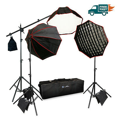 Photo Studio Photography 3 Softbox Light Stand Continuous Lighting Kit NEW