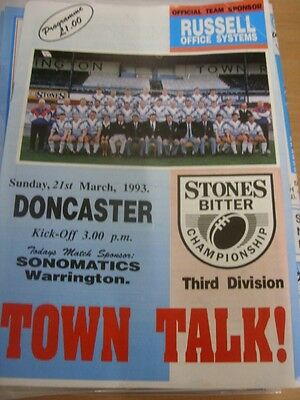 21 03 1993 RUGBY League Programme Workington Town v Doncaster