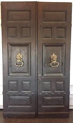 Antique c.1910 OAK DOOR American Mansion Entry Doors. Massive Knockers The BEST!