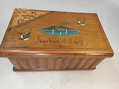 Vintage Novelty Book inlaid Box , Secret Lock Sorrento ware Volcano   ref 2154