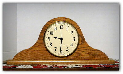 Solid Oak Mantle Clock, Battery Operated, Quartz Movement. Made in France