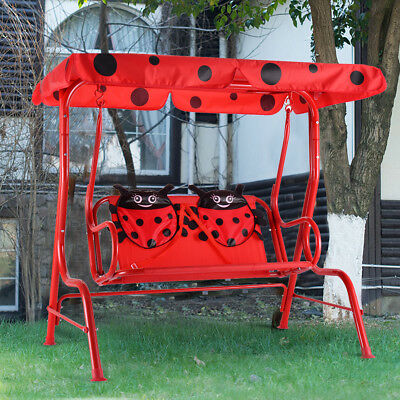 Swell Kids Metal Swing Chair Bench Outdoor Patio Ladybug 2 Seats Bralicious Painted Fabric Chair Ideas Braliciousco