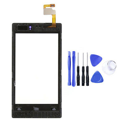 For Nokia Lumia 520 Replace Front Glass Digitizer Touch Screen Lens+Frame +Tools