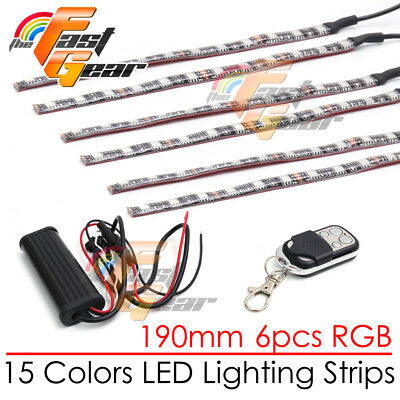 6 Pcs Cuttable 190mm RGB LED Color Light Strip Remote For Honda