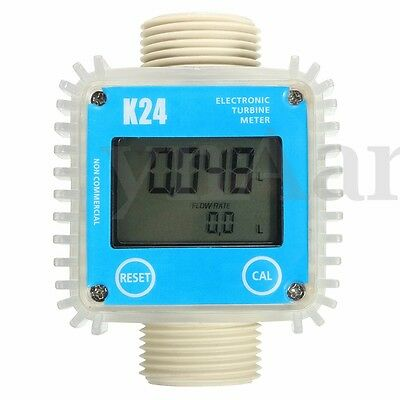 K24 1'' LCD Digital Turbine Gauge For Chemicals Water Diesel Oil Fuel Flow Meter