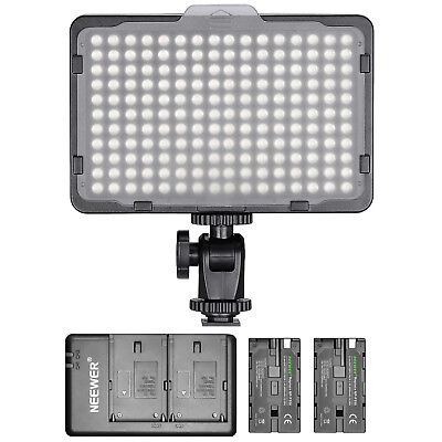 Neewer Dimmable 176 LED Video Light with 2 Batteries and Dual USB Charger Kit