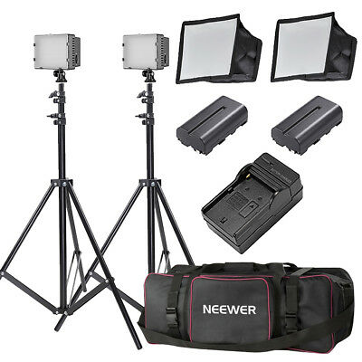 Neewer 2x160 LED Dimmable Video Lighting Kit with Stand and Softbox Battery