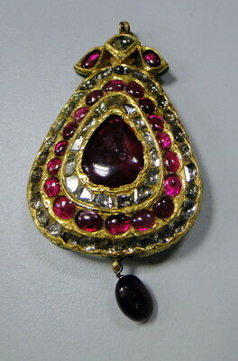 vintage antique old gold kundan meena pendant diamond ruby 9717
