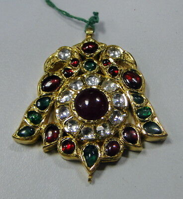 vintage antique old gold kundan meena pendant diamond ruby