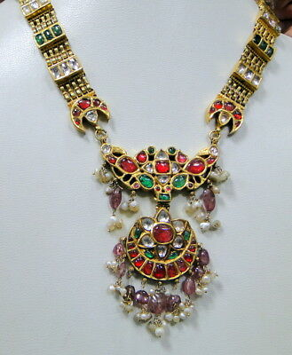 vintage antique 20 ct solid gold NECKLACE kundan meena polki diamond neckalce