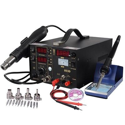 3in1 853D Iron Soldering Station Rework SMD Solder Hot Air Gun & DC Power Supply