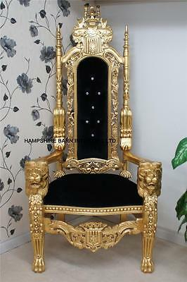 Ornate Large Lion King Throne Chair Gold & Black Velvet Home Stage Event Dining