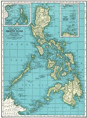 1943 Vintage PHILIPPINES Map of the Philippine Islands Gallery Wall Art #5168