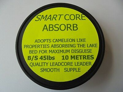 Lead core leader smart core absorb x 10 mts per spool 45lb b/s .
