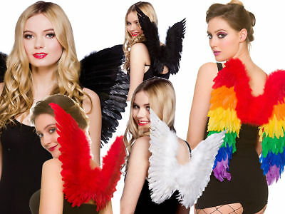 Adults Angel Wings Childrens Feather Wings Fancy Dress Accessory Black White Red