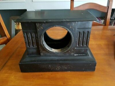 Antique Victorian french Black Slate marble Clock Case