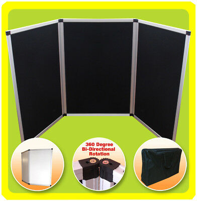 3 Panel Display 6 ft Tabletop Folding Trade Show Presentation  BLACK (NoHeader)