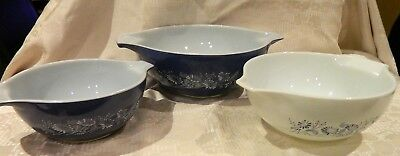 Vintage Pyrex Colonial Mist Cinderella Blue French Daisy Nesting Mixing Bowls