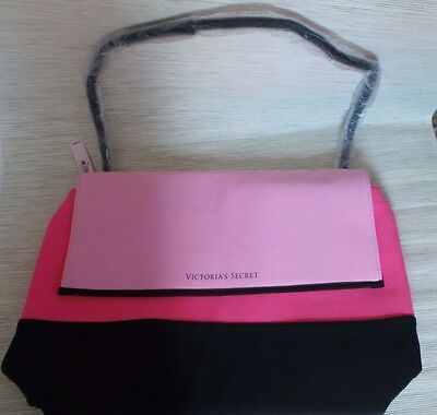 6bd36c532e Victoria s Secret Beach Cooler Insulated Tote Beach Bag Zippered Pink Black  NWT