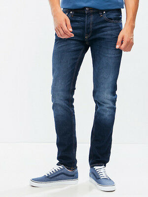 Jack & Jones Herren Slim Fit Jeans Hose Tim Original Blau Denim