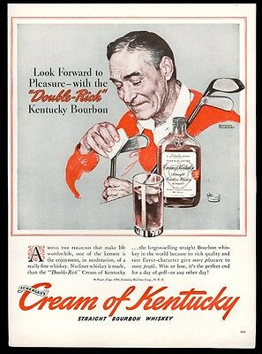 1940 Norman Rockwell golf golfer clubs art Cream of Kentucky whiskey print ad