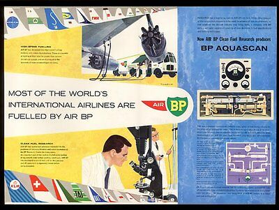 1962 Pan Am TWA etc airline plane tail art BP aviation fuel vintage print ad
