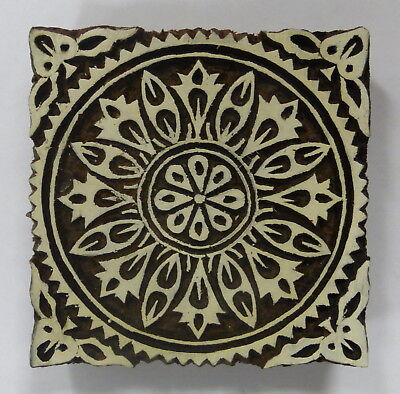 Square Shaped 10.5cm Indian Hand Carved Wooden Printing Block Stamp (LSQ3)