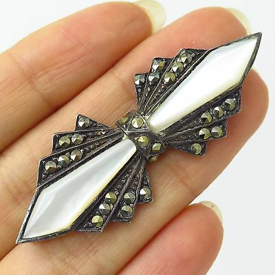 925 Sterling Silver Real Mother-Of-Pearl Marcasite Gemstone Bow Pin Brooch
