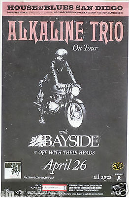 Alkaline Trio / Bayside / Off With Their Heads San Diego Concert Tour Poster