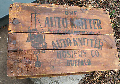 Vintage Wood Box Crate Auto-Knitter Advertising Graphics Sock Machine