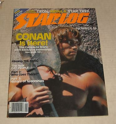 6/82 STARLOG SCI FI MAGAZINE # 59 w POSTER CONAN The THING CAT PEOPLE TRON KRULL